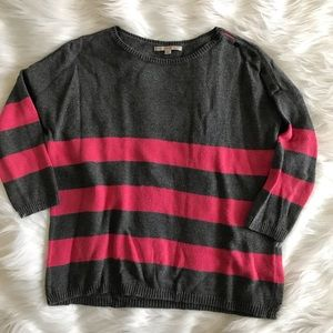 Gap Pink and Gray Strip Dolman Sleeve Sweater
